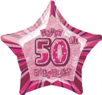 "Glitz 20"" Star Balloon Pink - Age 50"
